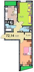 ЖК «на улице Бусалова», планировка 2-комнатной квартиры, 70.20 м²