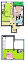 ЖК «на улице Бусалова», планировка 2-комнатной квартиры, 60.60 м²