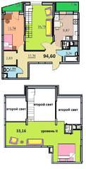 ЖК «на улице Бусалова», планировка 3-комнатной квартиры, 94.60 м²