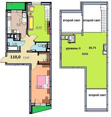 ЖК «на улице Бусалова», планировка 4-комнатной квартиры, 110.00 м²