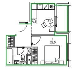 ЖК «Микрогород «В лесу», планировка 1-комнатной квартиры, 29.50 м²