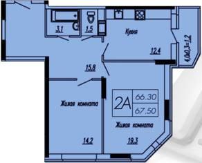 ЖК «Лунный», планировка 2-комнатной квартиры, 67.50 м²