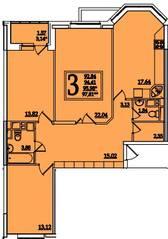 ЖК «Космическая гавань», планировка 3-комнатной квартиры, 95.98 м²