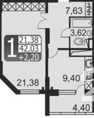 ЖК «Кашинцево», планировка 1-комнатной квартиры, 42.03 м²