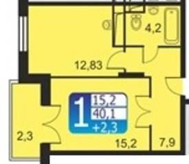 ЖК «Кашинцево», планировка 1-комнатной квартиры, 40.10 м²