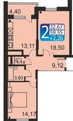 ЖК «Кашинцево», планировка 2-комнатной квартиры, 59.55 м²