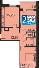 ЖК «Кашинцево», планировка 2-комнатной квартиры, 61.31 м²