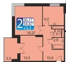 ЖК «Кашинцево», планировка 2-комнатной квартиры, 54.87 м²