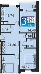 ЖК «Кашинцево», планировка 3-комнатной квартиры, 86.34 м²