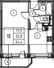ЖК «Истомкино», планировка 1-комнатной квартиры, 34.40 м²