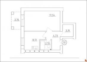 МЖК «Новая Гатчина», планировка 1-комнатной квартиры, 36.29 м²