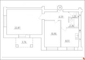 МЖК «Новая Гатчина», планировка 2-комнатной квартиры, 52.62 м²