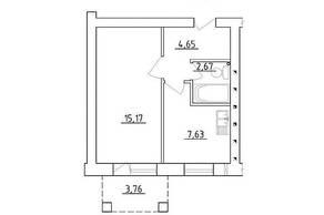 МЖК «Новая Гатчина», планировка 1-комнатной квартиры, 30.12 м²
