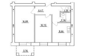 МЖК «Новая Гатчина», планировка 2-комнатной квартиры, 46.50 м²