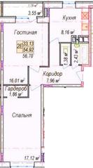 МЖК «Олимп-2», планировка 2-комнатной квартиры, 56.70 м²