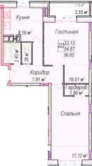 МЖК «Олимп-2», планировка 2-комнатной квартиры, 56.65 м²