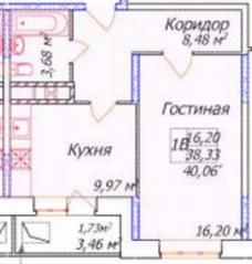 ЖК «Олимп-3», планировка 1-комнатной квартиры, 40.06 м²