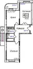 ЖК «Олимп-3», планировка 2-комнатной квартиры, 54.61 м²