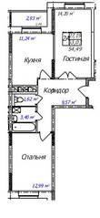 ЖК «Олимп-3», планировка 2-комнатной квартиры, 54.49 м²