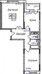 ЖК «Олимп-3», планировка 2-комнатной квартиры, 62.54 м²