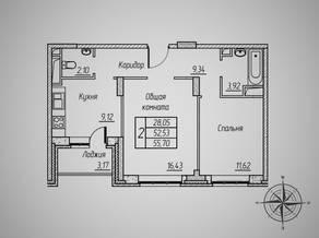 ЖК «Супонево 4», планировка 2-комнатной квартиры, 55.70 м²