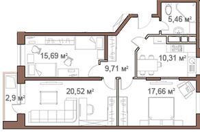 ЖК «Шустовъ-Парк», планировка 3-комнатной квартиры, 80.80 м²