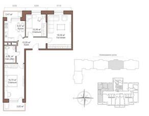 ЖК «Шустовъ-Парк», планировка 3-комнатной квартиры, 74.61 м²