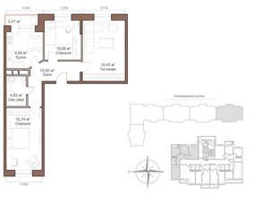 ЖК «Шустовъ-Парк», планировка 3-комнатной квартиры, 72.66 м²