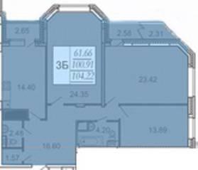 ЖК «Высокая нота», планировка 3-комнатной квартиры, 100.91 м²