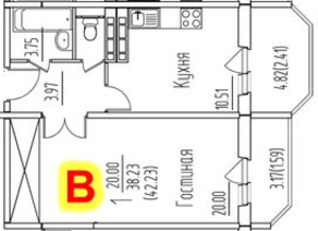 ЖК «на улице Гагарина, 19, 63», планировка 1-комнатной квартиры, 42.23 м²