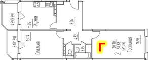 ЖК «на улице Гагарина, 19, 63», планировка 2-комнатной квартиры, 61.76 м²