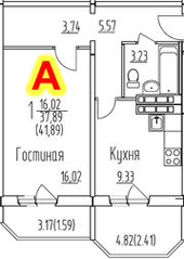 ЖК «на улице Гагарина, 19, 63», планировка 1-комнатной квартиры, 41.89 м²