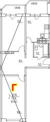 ЖК «на улице Гагарина, 19, 63», планировка 2-комнатной квартиры, 61.04 м²