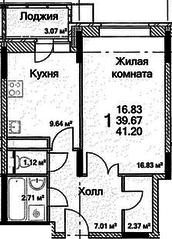 ЖК «на Каширском шоссе, 6», планировка 1-комнатной квартиры, 41.20 м²
