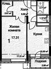 ЖК «на Каширском шоссе, 6», планировка 1-комнатной квартиры, 42.63 м²