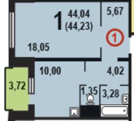 ЖК «в микрорайоне №7Б», планировка 1-комнатной квартиры, 44.23 м²