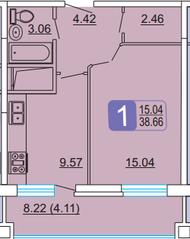 ЖК «Центральный» (Лыткарино), планировка 1-комнатной квартиры, 38.66 м²