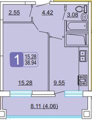 ЖК «Центральный» (Лыткарино), планировка 1-комнатной квартиры, 38.94 м²