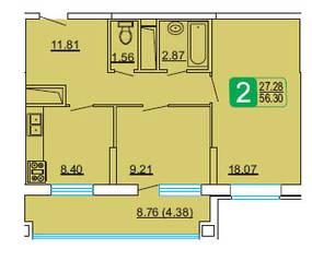 ЖК «Центральный» (Лыткарино), планировка 2-комнатной квартиры, 56.30 м²