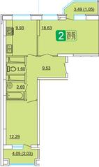 ЖК «Центральный» (Лыткарино), планировка 2-комнатной квартиры, 57.75 м²