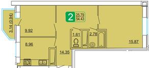 ЖК «Центральный» (Лыткарино), планировка 2-комнатной квартиры, 54.43 м²