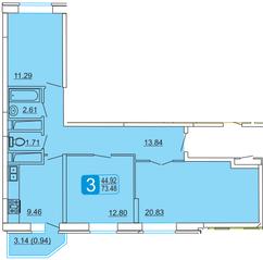 ЖК «Центральный» (Лыткарино), планировка 3-комнатной квартиры, 73.48 м²