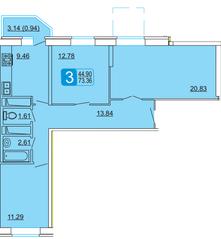 ЖК «Центральный» (Лыткарино), планировка 3-комнатной квартиры, 73.36 м²