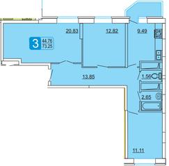 ЖК «Центральный» (Лыткарино), планировка 3-комнатной квартиры, 73.25 м²
