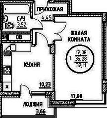 ЖК «Северный» (Подольск), планировка 1-комнатной квартиры, 37.11 м²