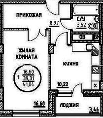 ЖК «Северный» (Подольск), планировка 1-комнатной квартиры, 41.04 м²