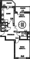 ЖК «Северный» (Подольск), планировка 2-комнатной квартиры, 63.66 м²