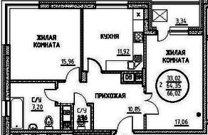 ЖК «Северный» (Подольск), планировка 2-комнатной квартиры, 66.02 м²