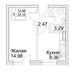 МЖК «Гагарина 28», планировка 1-комнатной квартиры, 29.00 м²