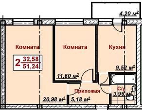МЖК «Ликино», планировка 2-комнатной квартиры, 51.24 м²